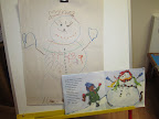 A poster size picture of a snow person where children have drawn each item added, 1-10, from