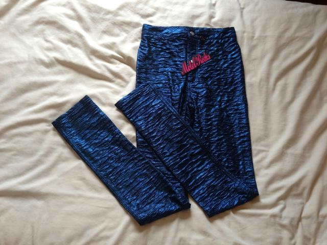 Motel Blue Wet Look Slim Line Pants in Royal Crush