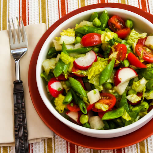 Crunchy Chopped Salad with Sugar Snap Peas, Jicama, Radishes, Tomatoes ...