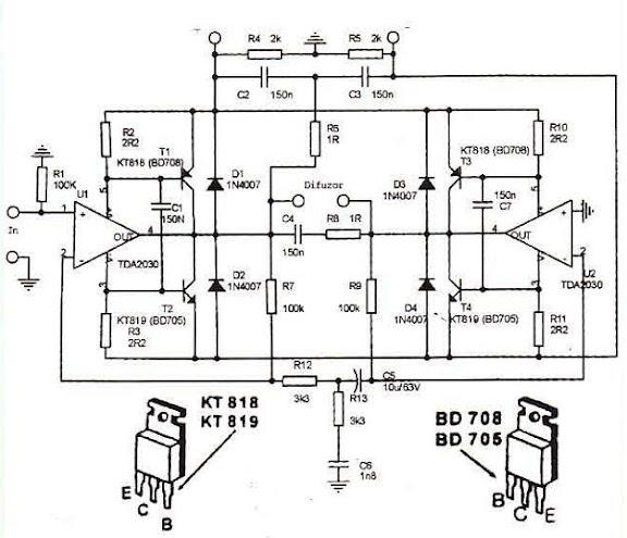 Amplificator 200W În  punte,  cu TDA2030