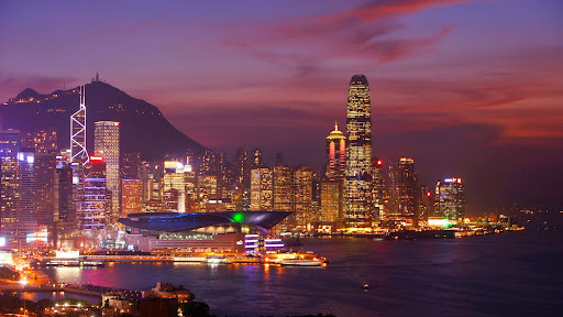 Wan Chai and Central Hong Kong at Dusk, China.jpg