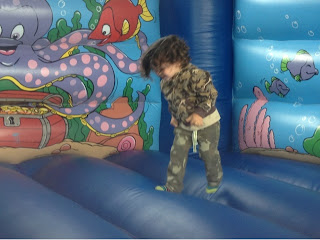 Bouncy castle with my son jumping around on it