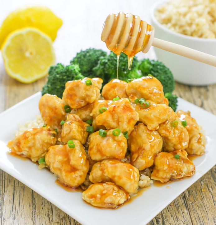 photo of Baked Crunchy Honey Lemon Chicken with honey