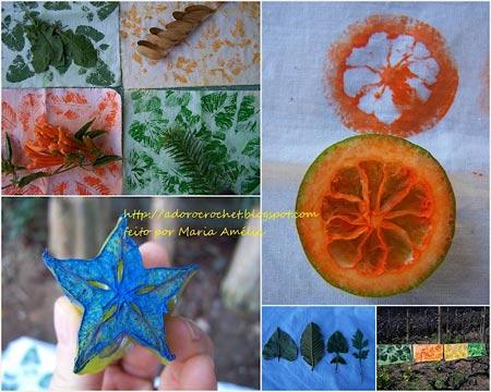 Estampas feitas a partir de vegetais