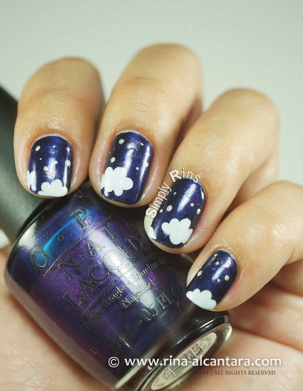 Night-y Night Nail Art on OPI Russian Navy
