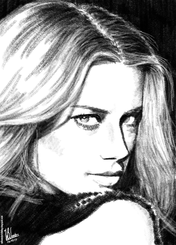 Pencil sketch of Amber Heard, using Krita 2.5.