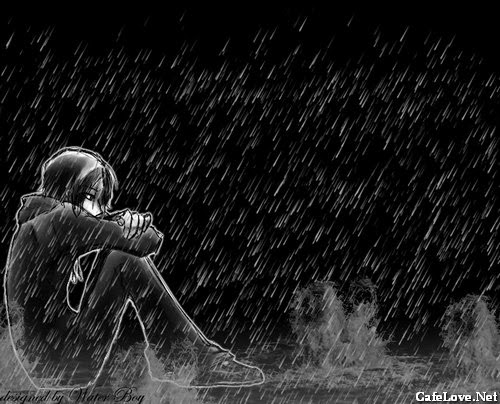 Ảnh con trai ngồi buồn dưới mưa