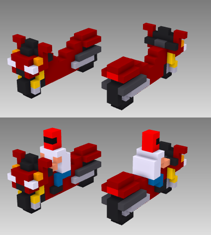 MagicaVoxel voxel motorcycle sport bike