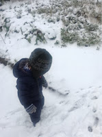 toddler in the snow