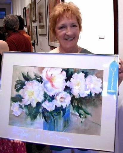 """Honorable Mention: """"Peony"""" by Geraldine Knobbe. Watercolor."""
