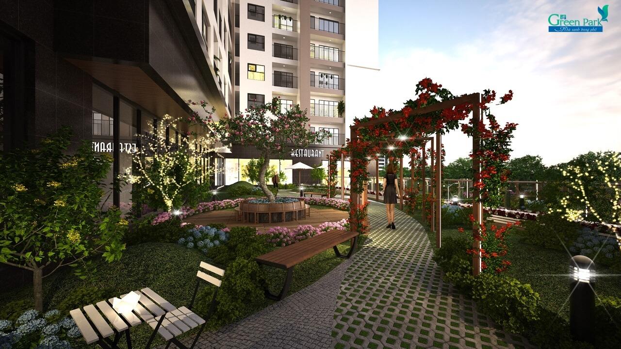 Vườn dạo bộ chung cư số 1 Trần Thủ Độ