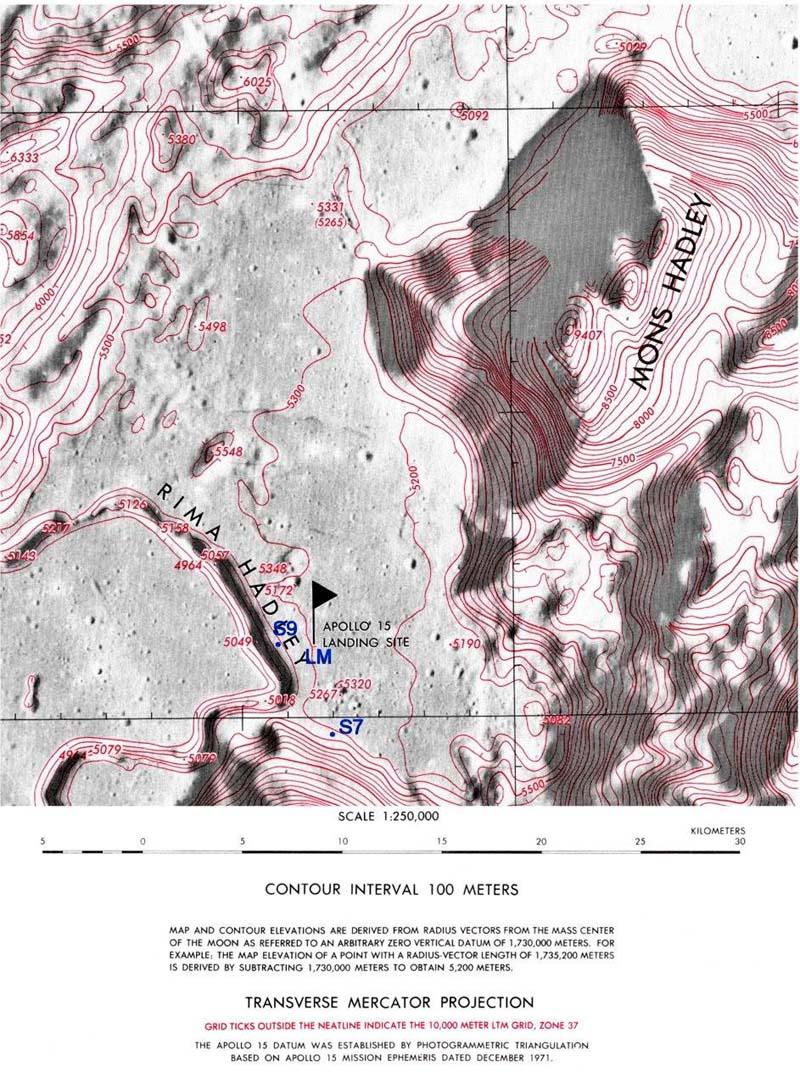 Рис.5. Топографическая карта места прилунения Аполлона-15