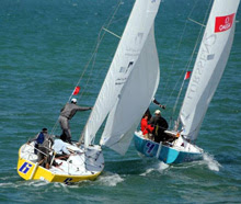 J/24 sailboats- sailing match race at Kingdom Match Cup- Bahrain