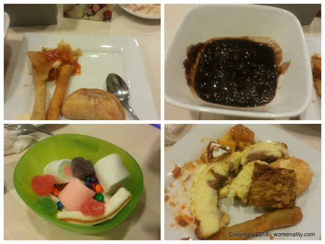 Dynamite Cheese Sticks, Champorado, Bowl of Candies, Peanut Bar and Slices of Cakes