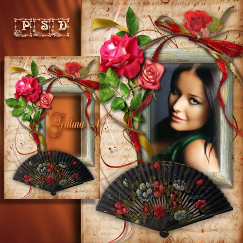 Винтажная рамка с розами и веером