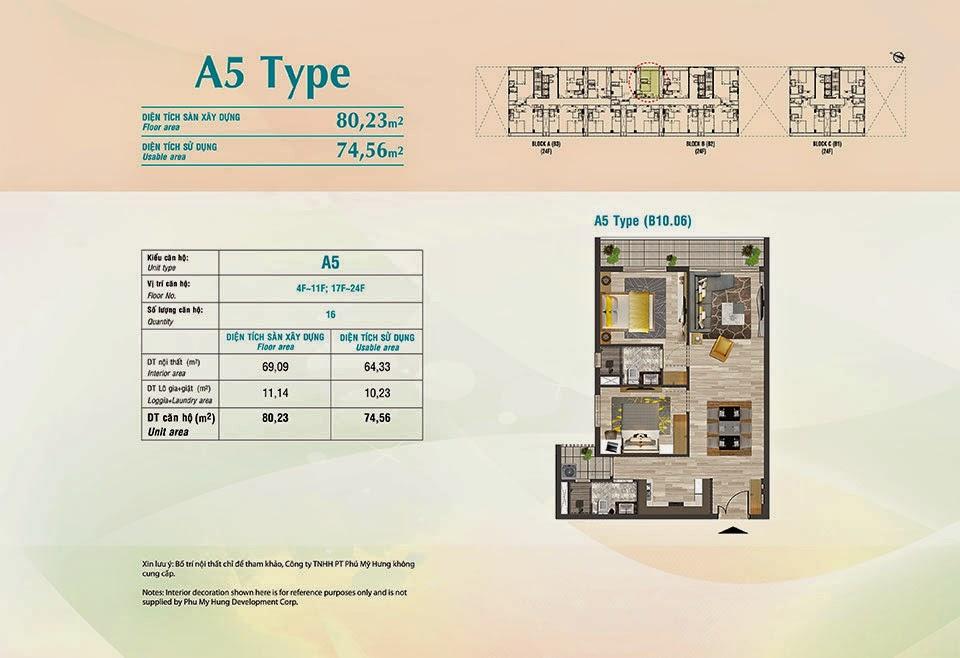 Căn hộ Scenic Valley Phú Mỹ Hưng, kiểu A5, 80.23m2 có thiết kế 2 phòng ngủ