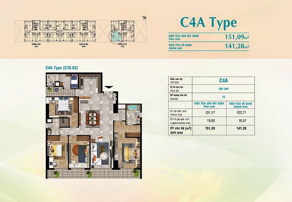 Căn hộ Scenic Valley Phú Mỹ Hưng, kiểu C4A, 151.09m2 có thiết kế 4 phòng ngủ