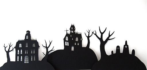 This is a group of individual Haunted House cutouts. I'd love to hide some colored lights behind these on a mantel or shelf.