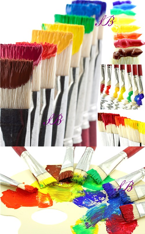 Stock Photo: Brushes with multi-colored paint