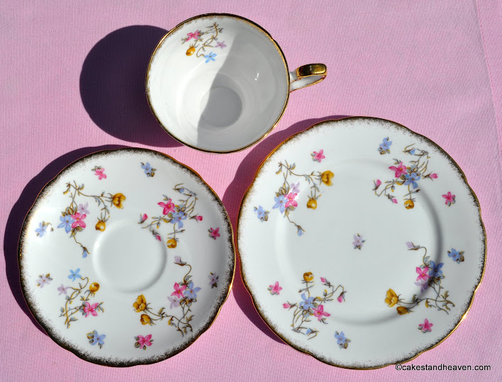 Royal Stafford dainty floral trio with sponged gold rims