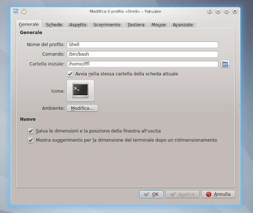 Yakuake 2.9.9 - modifica profilo