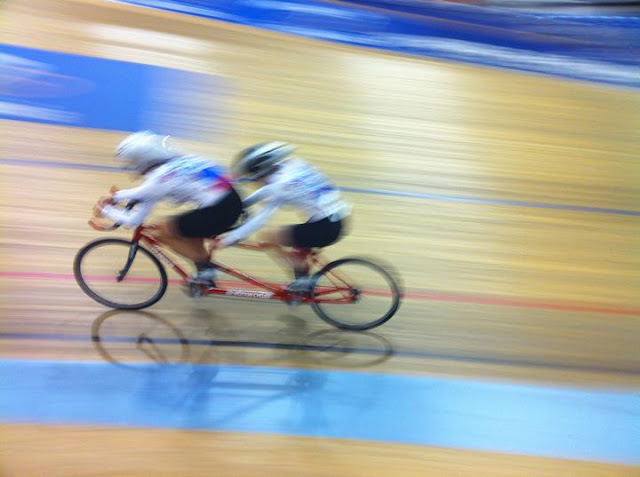 Kristen Meshberg and Kim Borowicz at the Carson Velodrome