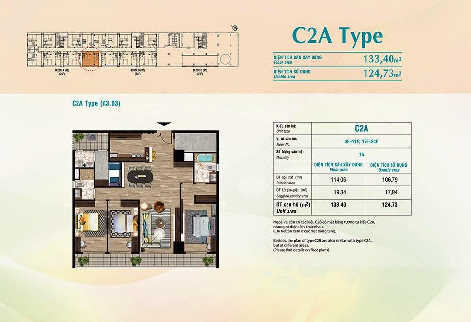 Căn hộ Scenic Valley Phú Mỹ Hưng, kiểu C2A, 133.40m2 có thiết kế 3 phòng ngủ
