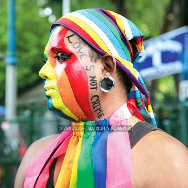 Sayan Kumar Roy during the 13th edition of Kolkata Rainbow Pride Walk 2014, held in Kolkata.