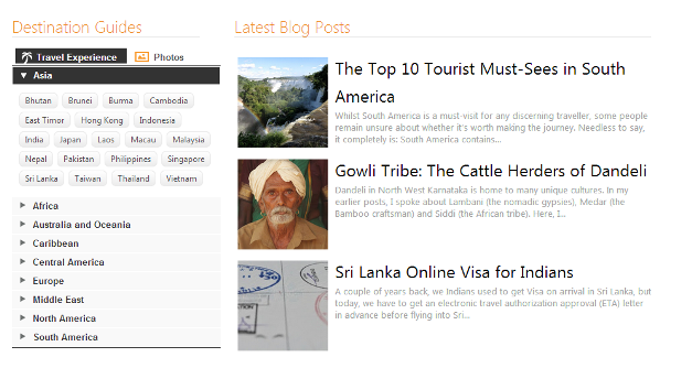 Destination Guides and Latest Blog Posts
