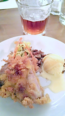 Flight Dessert Bar, Midwestern Roots Menu Course 3 Buttermilk fried chicken, maple gelato, pecan-black pepper slaw. This was paired with occodental altbier.