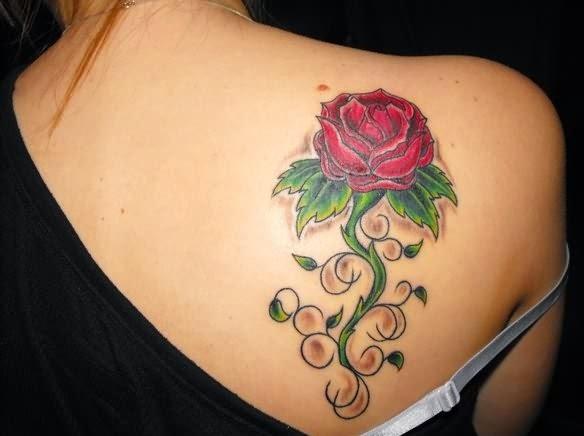 rose tattoos upper back