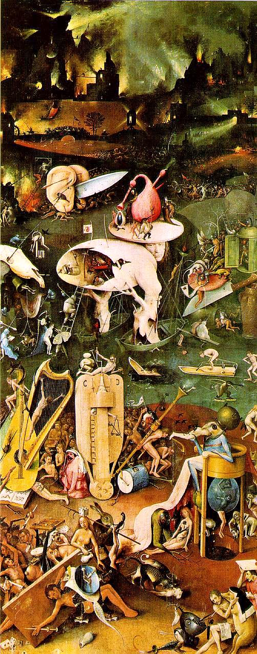 detail from HELL -- third panel in THE GARDEN OF EARTHLY DELIGHTS triptych painted by Hieronymous Bosch