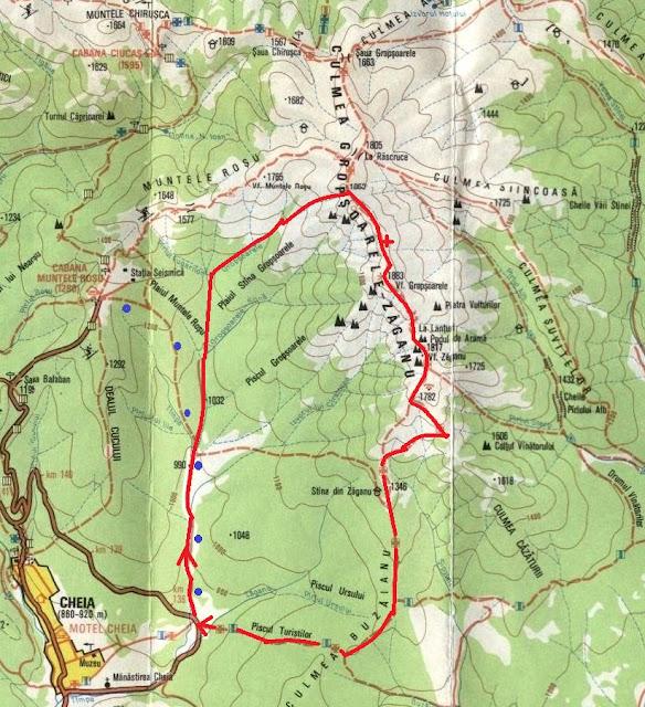 fragment harta Ciucas. Traseu: Cheia-Gropsoarele-Zaganu-Stana Zaganu-Cheia