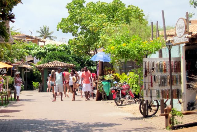 Shopping street in Praia do Forte in Brazil
