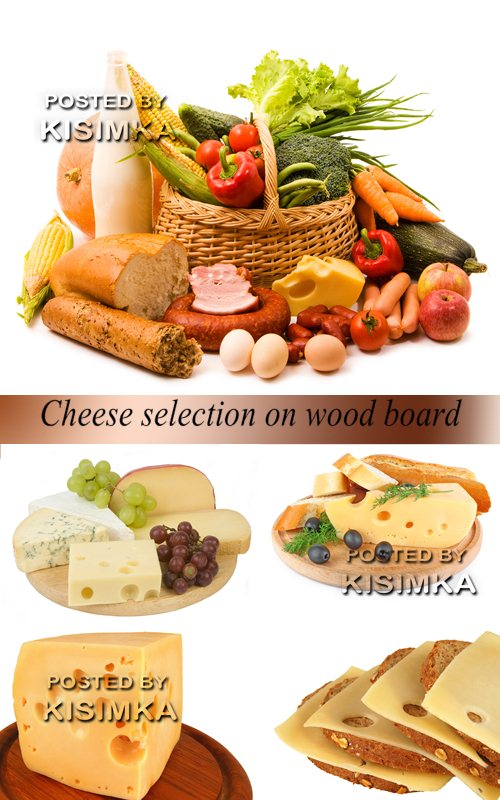 Stock Photo: Cheese selection on wood board