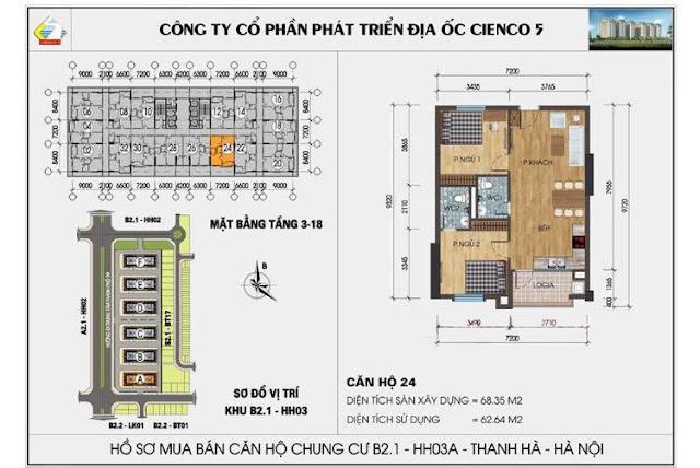 Mặt bằng căn hộ 24 chung cư b2.1 hh03a thanh hà