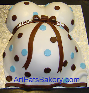 White, blue and brown polka dot fondant unique custom designed baby bump dress shower cake