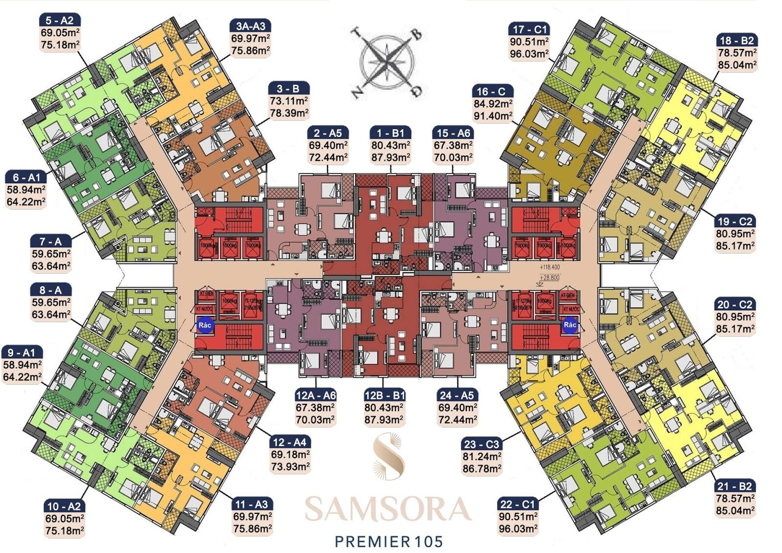 Mặt bằng chung cư Samsora Premier 105 Chu Văn An