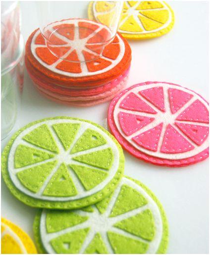 posavasos con forma de frutas