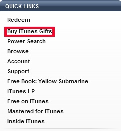 Select Buy iTunes Gifts