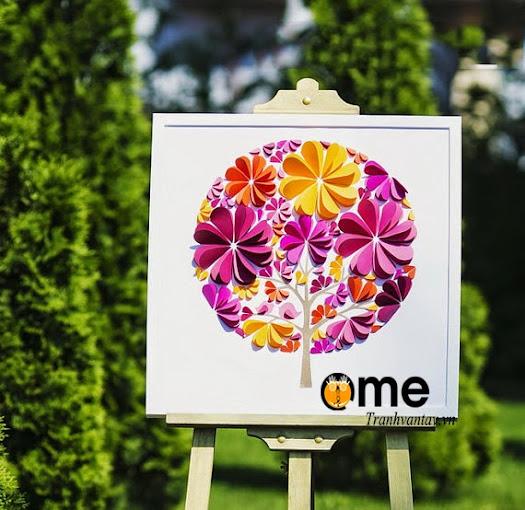 tranh wedding tree 3d hình tròn cánh hoa