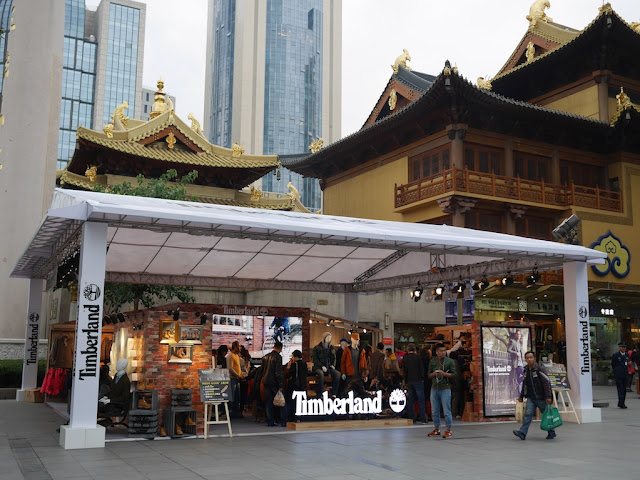 outdoor promotion for Timberland next to the Jing'an Temple in Shanghai