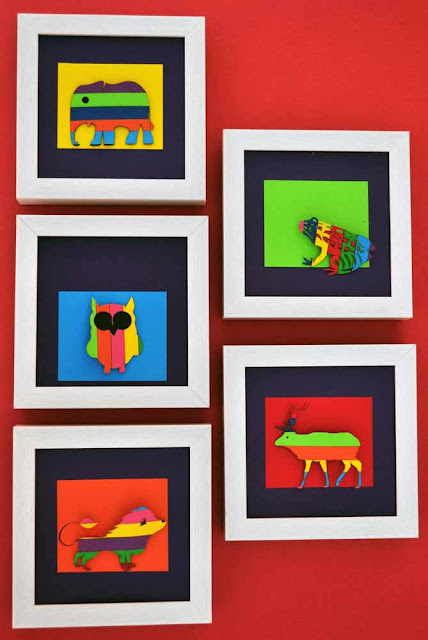 Frame Animal 01 Colour Paper Art !