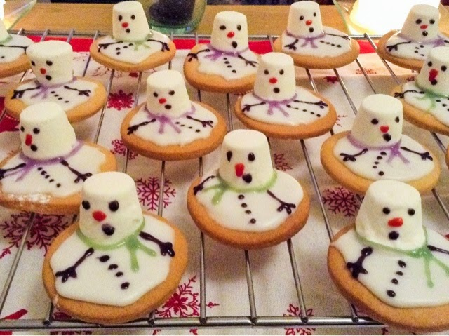 Baking Christmas Melting Snowman Biscuits