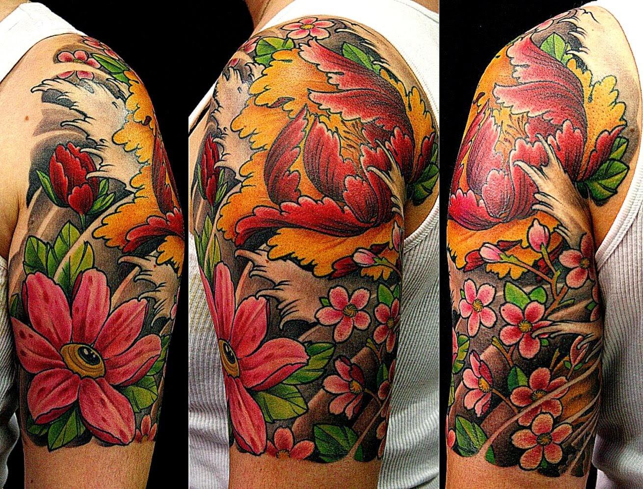 Vibrant Flower Tattoo Wallpaper | Best Free HD Wallpaper