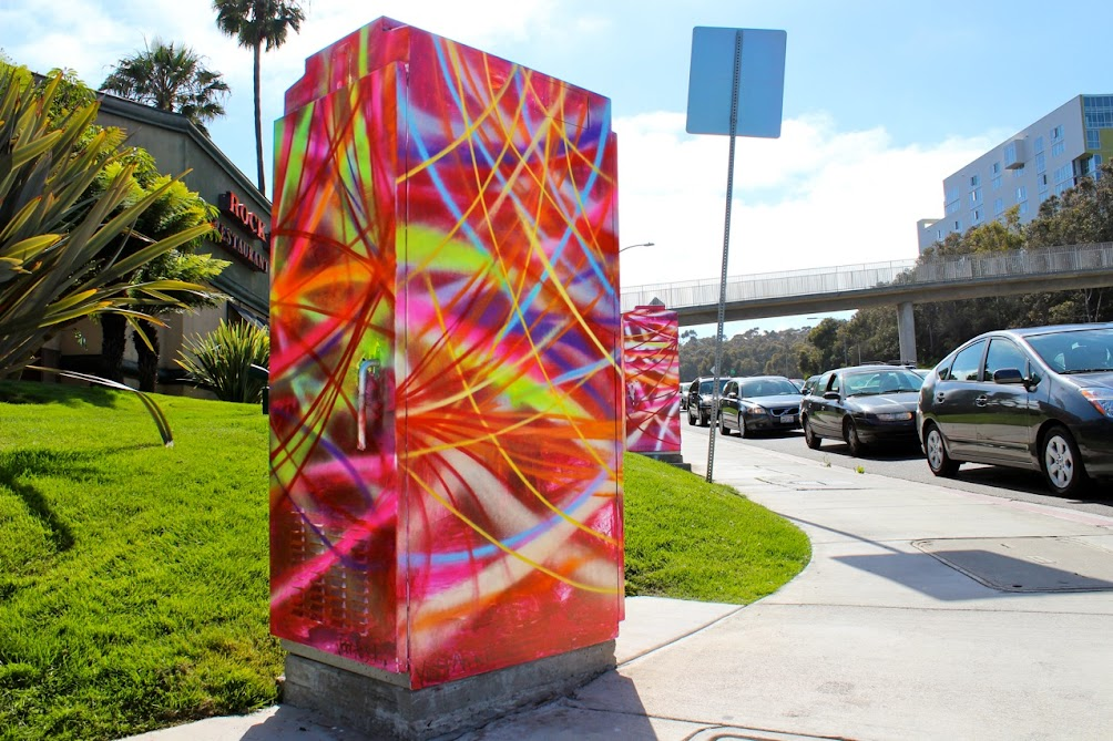 Victor Angelo Artist Public Art Paintings Street Art Intersection Electric Boxes Cars Buildings La Jolla California