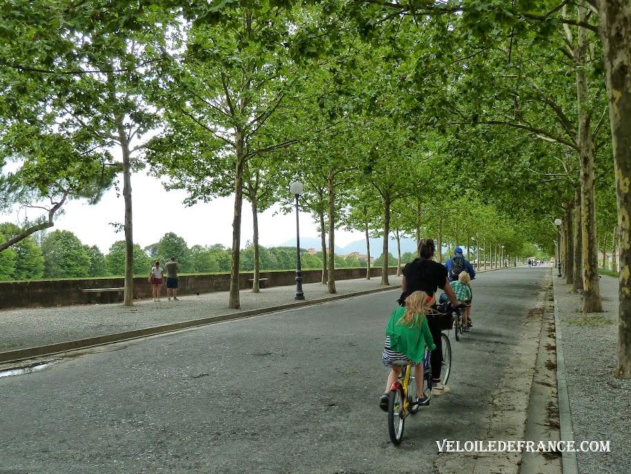 Balade à vélo sur les remparts de Lucques - Evasion à vélo en Italie par veloiledefrance.com