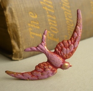Pink swallow brooch