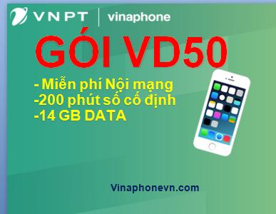 Gọi nội mạng miễn phí, ưu đãi 14GB data tốc độ cao cùng gói cước VD50 Vinaphone