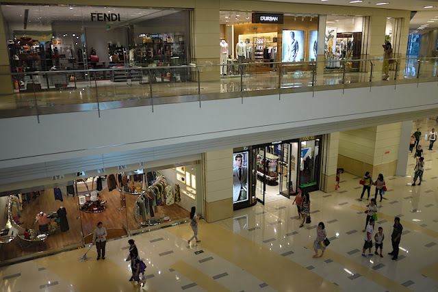 two levels of stores at the MixC in Shenzhen, China